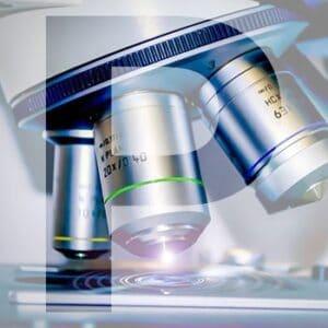 Closeup of Scientific microscope data analysis in the laboratory
