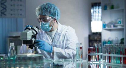 Pathology Lab with Microscope